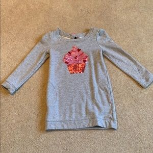 Girls Sweater Dress with Sequined Cupcake.